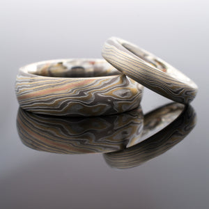 Mokume Gane Ring Matched Wedding Bands in Woodgrain Pattern and Flare Palette