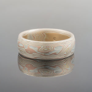Mens wide mokume ring. Mokume Gane Ring or Wedding Band in Woodgrain Mokume Gane Ring or Wedding Band in Embers Palette and Woodgrain Pattern Mokume Gane Rings or silver mixed metal 14K yellow gold white gold two tone two-toned woodgrain Pattern black blackened oxidized silver palladium alternative metal nature inspired bohemian rustic japanese style artisan topographical earthy style unique handmade wedding band mens womens