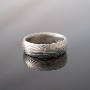 Mokume Gane Ring Wedding Band in Twist Pattern in Smoke Palette