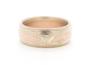 mokume gane wedding band mens ring in red gold, yellow gold and silver