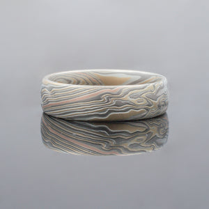 Mokume Gane Ring or Wedding Band in Bold Twist Pattern in Flare Palette w/ 14k Red Gold Stratum Layer