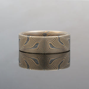 Mokume gane ring in fingerprint style with black and gold