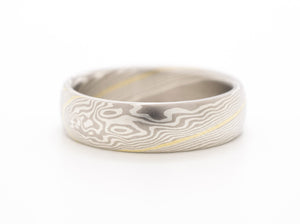 mokume gane wedding band ring in silver and gold