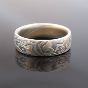 Mokume Gane mens wedding ring with unique one of a kind pattern