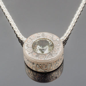 Classic Mokume Gane Slide Pendant. customize it with your stone