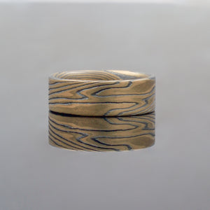Mokume Gane Ring or Wedding Band in Spark Palette and Twist Pattern