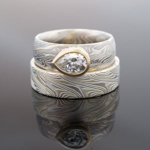 Mokume Gane Wedding Ring Set in Twist Pattern