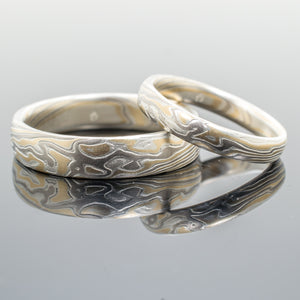 arn krebs mokume gane ring set wedding jewelry in gold, white gold and silver