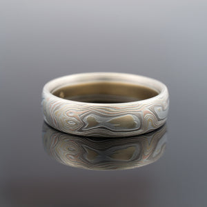 Mokume Gane Ring Wedding Band Woodgrain Pattern in  Firestorm Palette