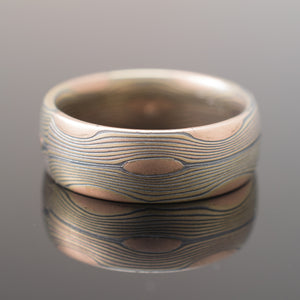 Mokume Gane Flow Ring in Oxidized Fire
