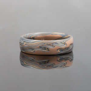 Mokume Gane Band in Twist Pattern and Oxidized Firestorm Palette
