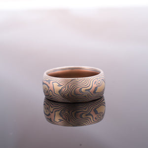 Mokume Gane Ring Wedding Band Woodgrain Pattern in Oxidized Fire Palette
