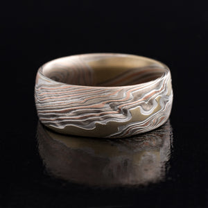 Mokume Gane Ring Wedding Band Twist Pattern in Oxidized Firestorm Palette