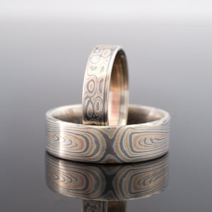Mokume Gane Ring Wedding Band Set Vortex/Droplet Pattern Embers Palette