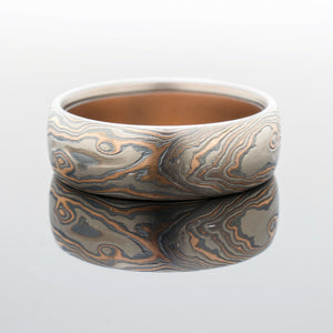 arn krebs mokume gane ring wedding jewelry mens band white gold, red gold and oxidized silver