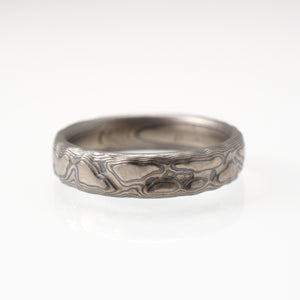 arn krebs mokume gane guri bori wedding band in sterling silver and white gold