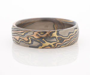 mokume gane wedding ring mens band in yellow gold, red gold, white gold and silver