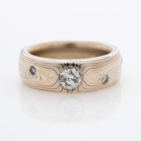 Mokume Vortex Wedding Ring in Firestorm with Diamonds