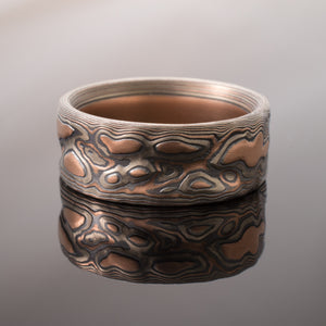 Arn Krebs mokume gane guri bori wedding band jewelry ring in silver and red gold