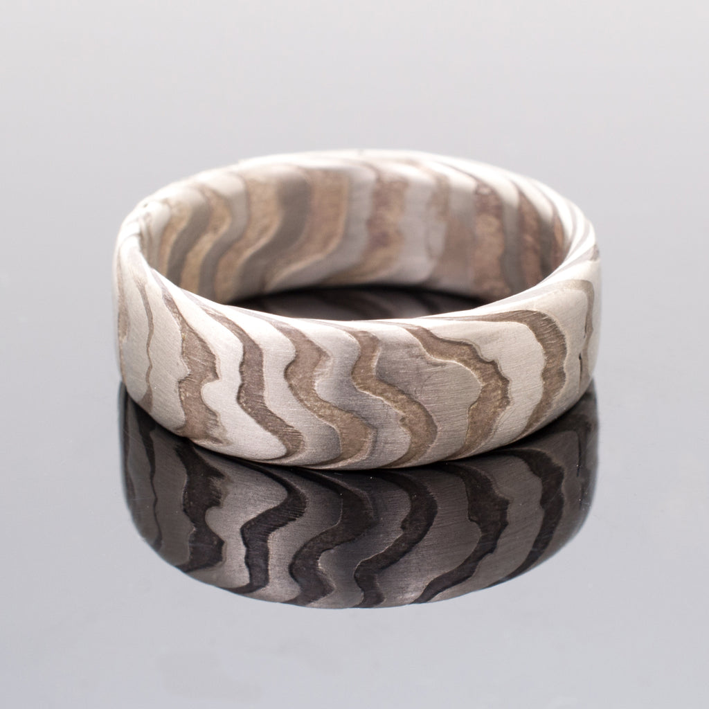 arn krebs mokume gane rings wedding jewelry mens band in sterling silver and palladium