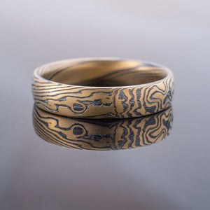 Mokume Gane Ring Wedding Band Twist Pattern in Spark Palette w/ 18kt Yellow Gold