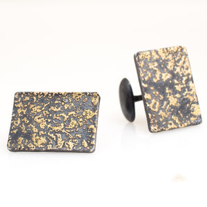 be9098c4a Arn Krebs Mokume Gane wedding jewelry cuff links in oxidized sterling silver  and 14k gold