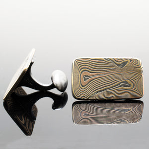 Mokume Wave Cuff Links in Oxidized Fire
