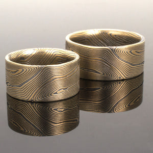 arn krebs mokume gane rings jewelry wedding set in oxidized sterling silver and gold