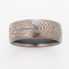 arn krebs mokume gane wedding band mens ring in oxidized silver, red gold and white gold