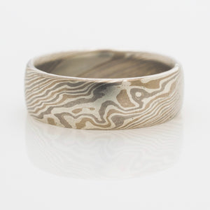 arn krebs mokume gane wedding band mens ring in silver, yellow gold and white gold