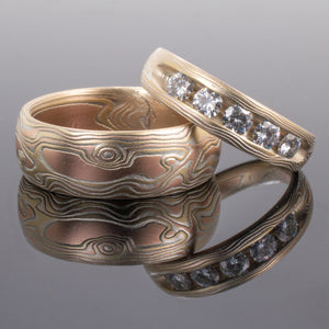 mokume gane wedding set jewelry engagement ring with moissonite in sterling silver, red gold and yellow gold