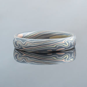 Mokume Gane Band or Ring in Twist Pattern and Firestorm Palette
