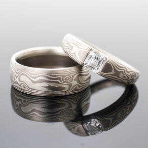 mokume gane wedding set engagement ring with diamond in silver and white gold