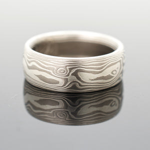 mokume gane wedding band ring in silver and white gold
