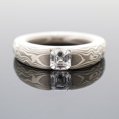 Mokume Woodgrain Cathedral Engagement Ring in Ash with Diamond