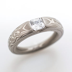 mokume gane wedding jewelry engagement ring with diamond in silver