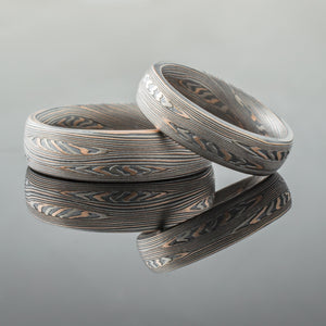 feather pattern red gold silver mokume ring set
