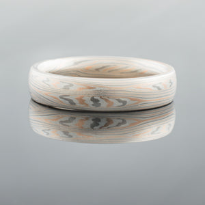 Bold Mokume Gane Ring or Wedding Band in Flow Pattern with Mokume Knots and Embers Palette