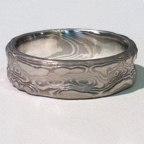 Mokume Guri Bori Wedding Band in Ash