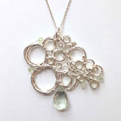 Silver Cell Pendant with Green Amethyst