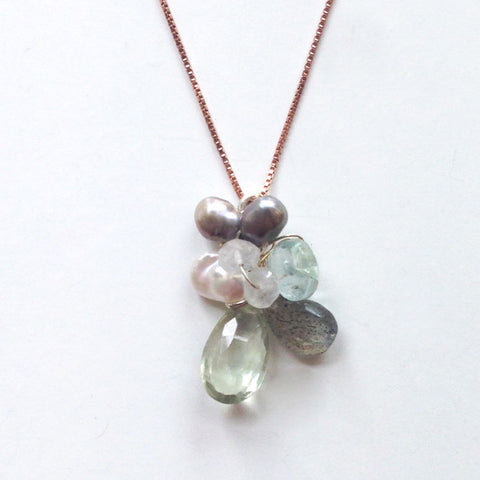 Cluster Pendant with Moonstone, Green Amethyst, and Chalcedony