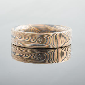 Tricolor Mokume Gane Wedding Band or Ring in Fire Palette and Vortex Pattern