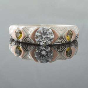 mokume gane ring wedding band center diamond moissanite woodgrain