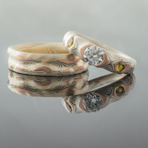 ring set mokume gane wedding bands guri bori pattern