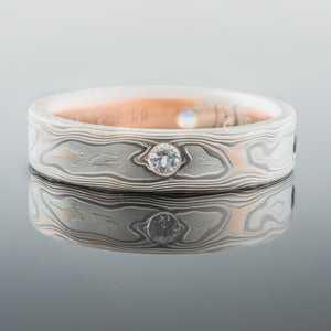 mokume gane ring, wedding band