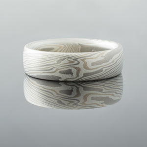 white mokume gane ring with contemporary flair