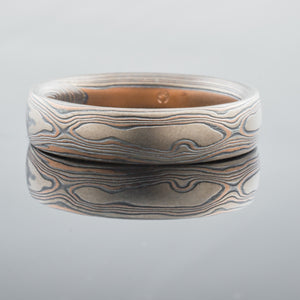 Rustic Mokume Gane Ring or Wedding Band in Embers Palette and Woodgrain Pattern