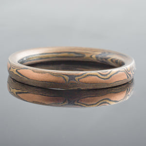 Bold Mokume Gane Wedding Ring or Band in Fire Palette and Woodgrain Palette with Oxidized Finish