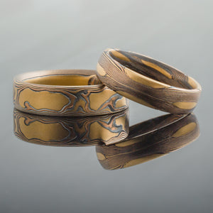 gold mokume gane ring set with rustic pattern