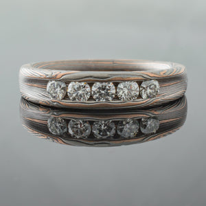 mokume gane engagement ring diamonds wedding bands